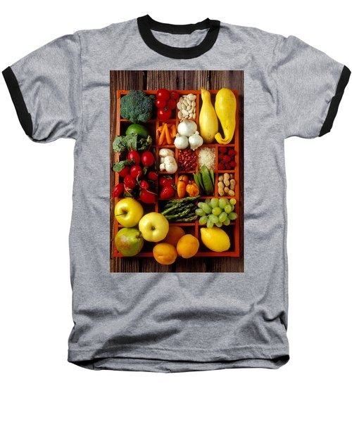 Fruits And Vegetables In Compartments Baseball T-Shirt by Garry Gay