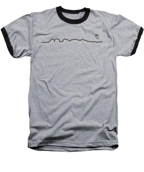 Full Moon Over Boston Skyline Black And White Baseball T-Shirt by Joann Vitali