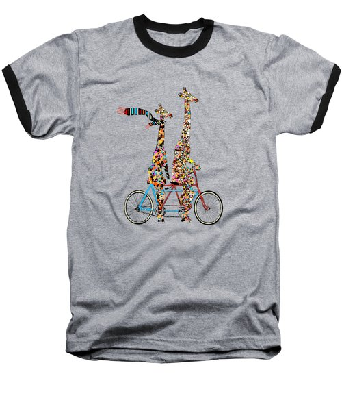 Giraffe Days Lets Tandem Baseball T-Shirt by Bri B