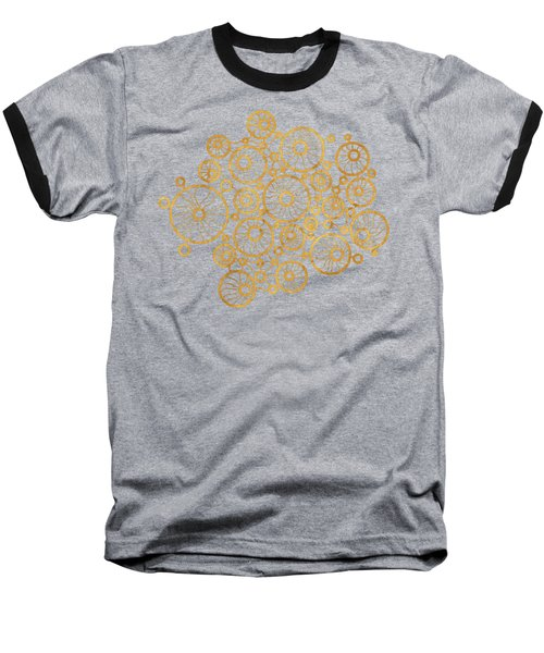 Golden Circles Black Baseball T-Shirt by Frank Tschakert