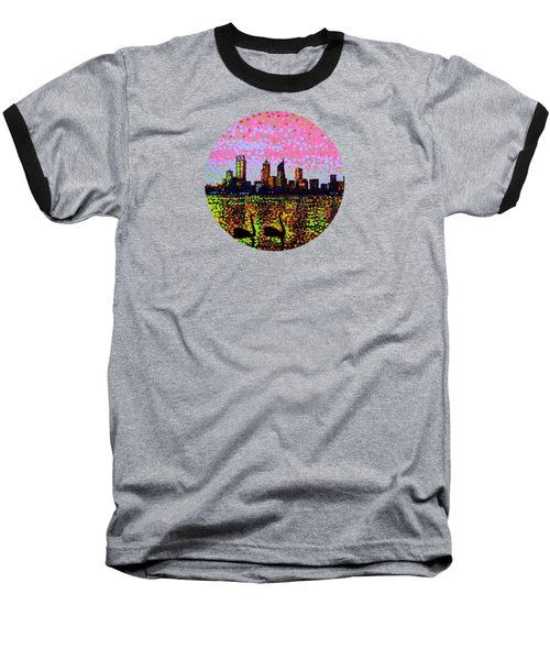 Golden Skyline Perth Baseball T-Shirt by Alan Hogan