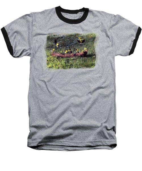 Goldfinch Convention Baseball T-Shirt by Nick Kloepping