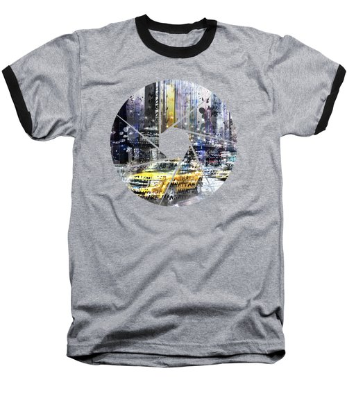 Graphic Art New York City Taxis And Manhattan Skyline Baseball T-Shirt by Melanie Viola