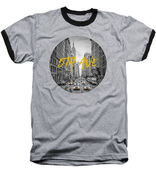 Graphic Art Nyc 5th Avenue Yellow Cabs Baseball T-Shirt by Melanie Viola