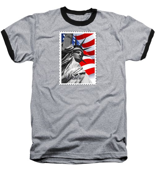 Graphic Statue Of Liberty With American Flag Text Usa Baseball T-Shirt by Elaine Plesser