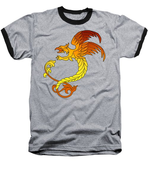 Griffin Griffon Gryphon In Flaming Colours Baseball T-Shirt by Heidi De Leeuw