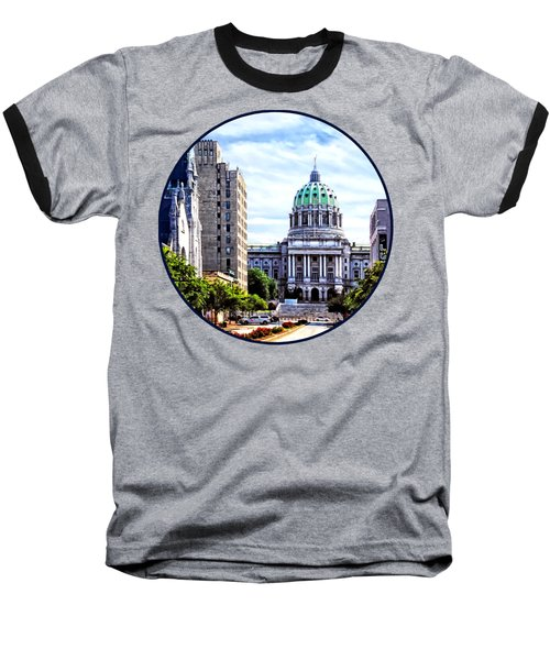 Harrisburg Pa - Capitol Building Seen From State Street Baseball T-Shirt by Susan Savad
