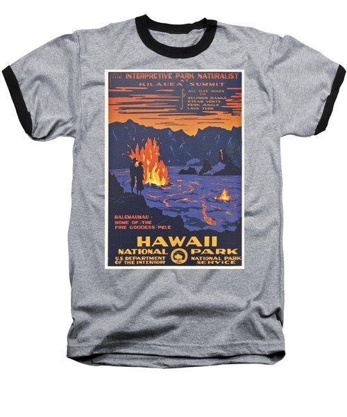 Hawaii Vintage Travel Poster Baseball T-Shirt by Georgia Fowler