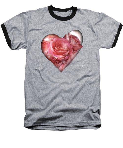 Heart Of A Rose - Melon Peach Baseball T-Shirt by Carol Cavalaris