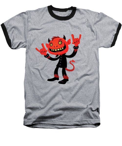 Heavy Metal Devil Baseball T-Shirt by John Schwegel