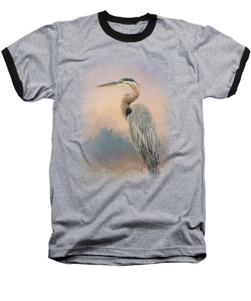 Heron On The Rocks Baseball T-Shirt by Jai Johnson