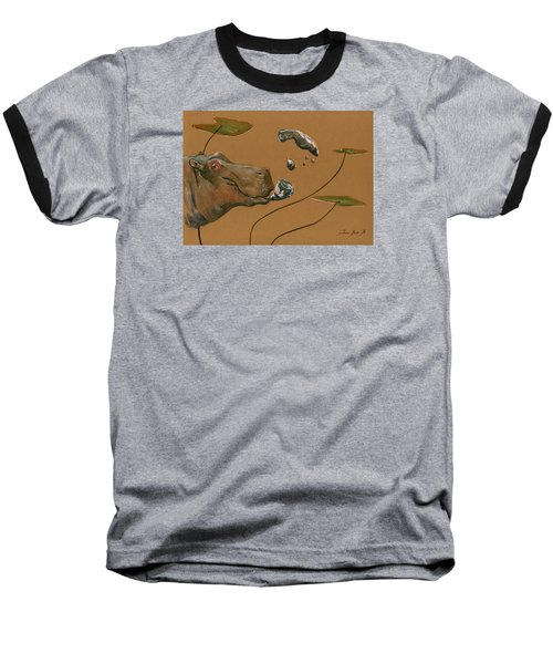 Hippo Bubbles Baseball T-Shirt by Juan  Bosco