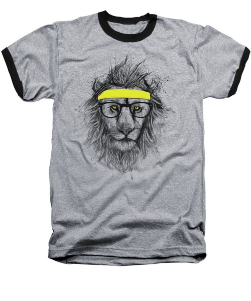 Hipster Lion Baseball T-Shirt by Balazs Solti