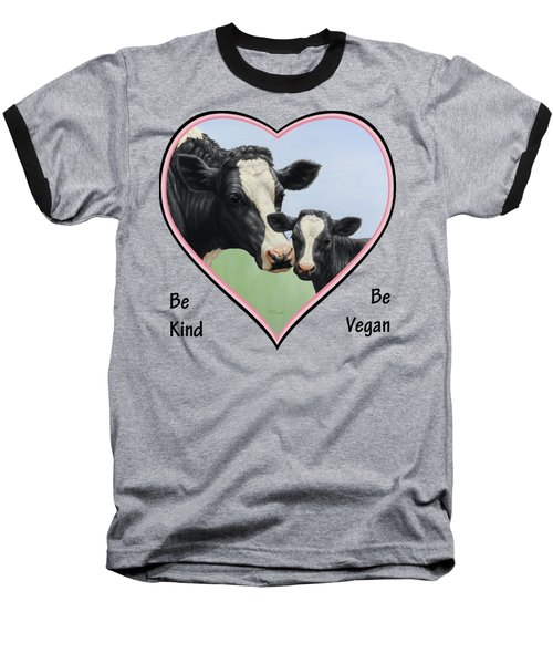 Holstein Cow And Calf Pink Heart Vegan Baseball T-Shirt by Crista Forest