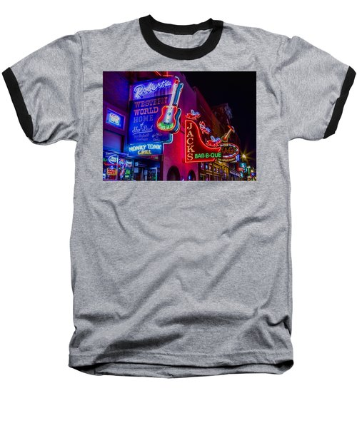 Honky Tonk Broadway Baseball T-Shirt by Stephen Stookey