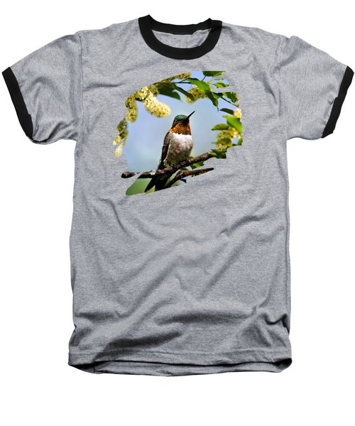 Hummingbird With Flowers Baseball T-Shirt by Christina Rollo