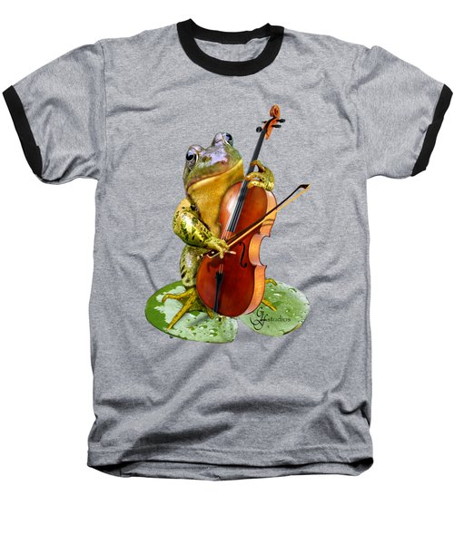 Humorous Scene Frog Playing Cello In Lily Pond Baseball T-Shirt by Regina Femrite