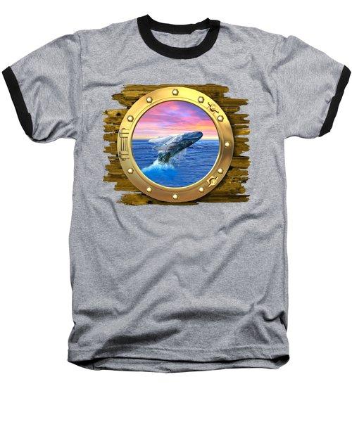 Humpback Whale Breaching At Sunset Baseball T-Shirt by Glenn Holbrook