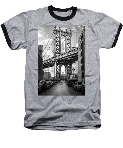 Iconic Manhattan Bw Baseball T-Shirt by Az Jackson