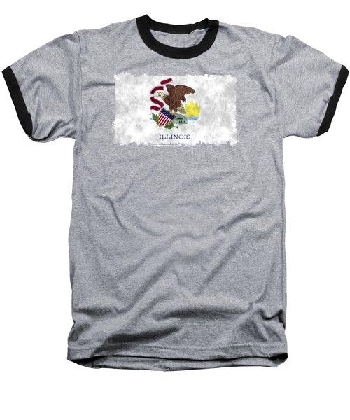 Illinois Flag Baseball T-Shirt by World Art Prints And Designs