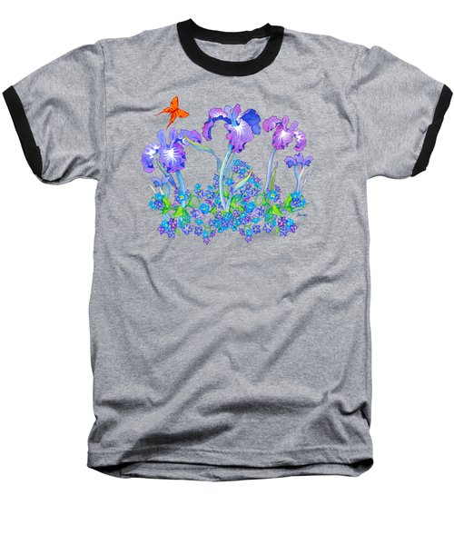 Iris Bouquet With Forget Me Nots Baseball T-Shirt by Teresa Ascone