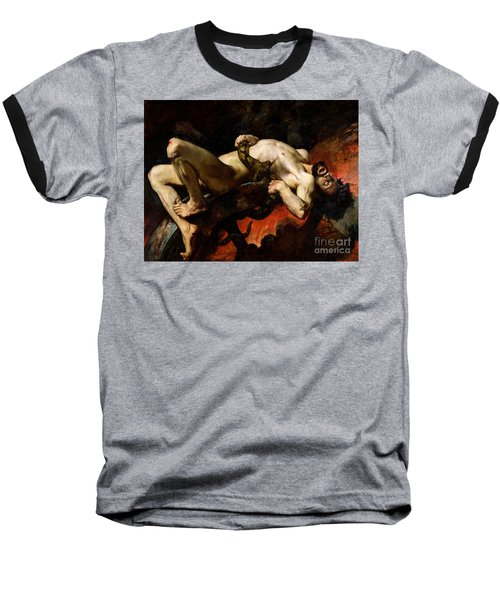 Ixion Thrown Into Hades Baseball T-Shirt by Jules Elie Delaunay