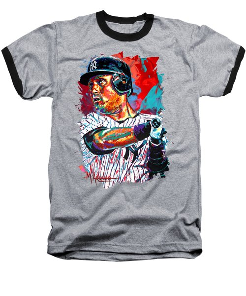 Jeter At Bat Baseball T-Shirt by Maria Arango