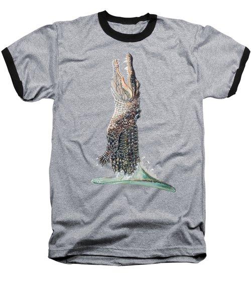 Jumping Gator Baseball T-Shirt by Jennifer Rogers