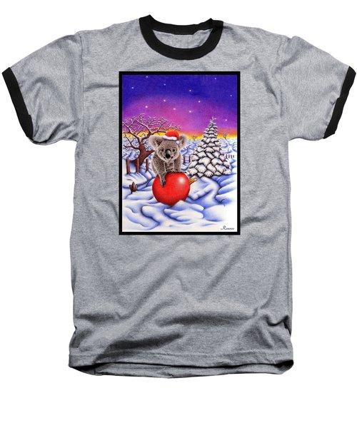 Koala On Ball Baseball T-Shirt by Remrov