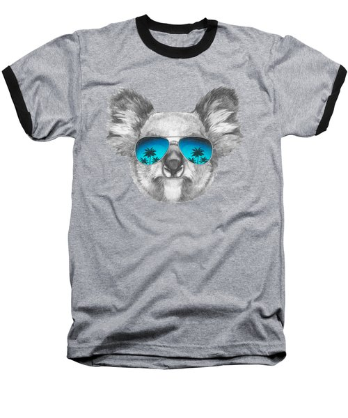 Koala With Mirror Sunglasses Baseball T-Shirt by Marco Sousa