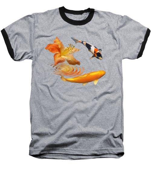 Koi With Azalea Ripples Square Baseball T-Shirt by Gill Billington