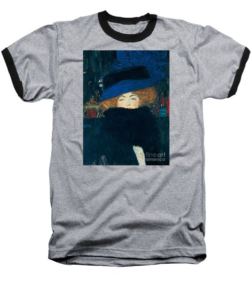 Lady With A Hat And A Feather Boa Baseball T-Shirt by Gustav Klimt