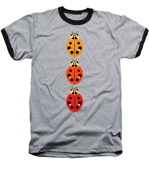 Ladybug Trio Vertical Baseball T-Shirt by MM Anderson