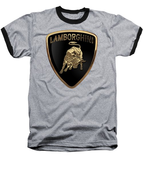 Lamborghini - 3d Badge On Black Baseball T-Shirt by Serge Averbukh
