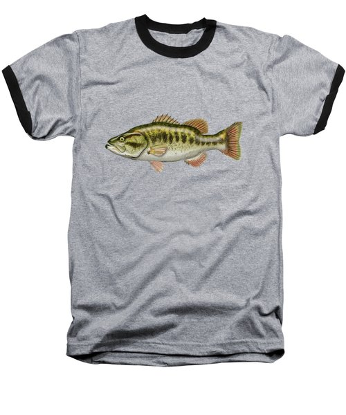 Largemouth Bass Baseball T-Shirt by Serge Averbukh
