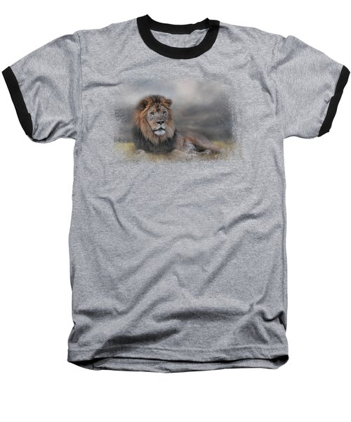 Lion Waiting For The Storm Baseball T-Shirt by Jai Johnson