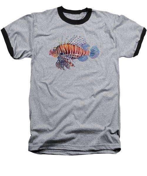Lionfish In Black Baseball T-Shirt by Hailey E Herrera