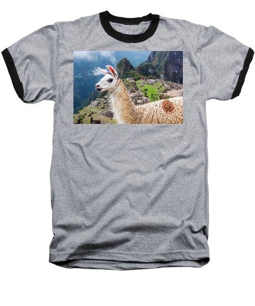 Llama At Machu Picchu Baseball T-Shirt by Jess Kraft
