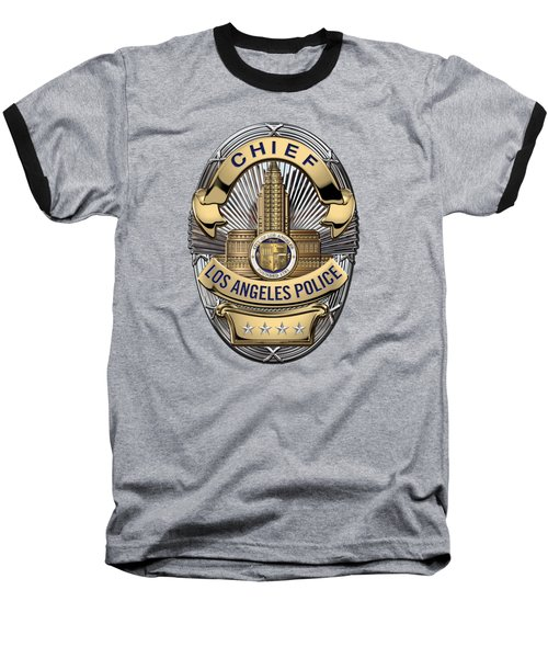 Los Angeles Police Department  -  L A P D  Chief Badge Over Blue Velvet Baseball T-Shirt by Serge Averbukh
