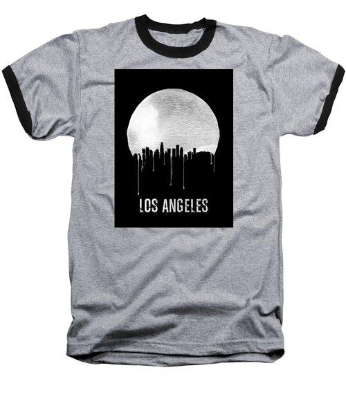 Los Angeles Skyline Black Baseball T-Shirt by Naxart Studio