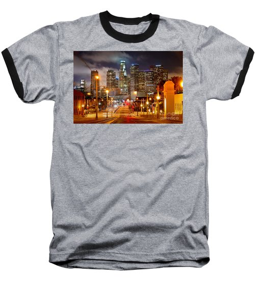 Los Angeles Skyline Night From The East Baseball T-Shirt by Jon Holiday