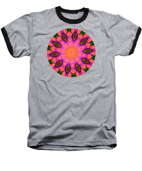 Mandala Salmon Burst Baseball T-Shirt by Hao Aiken