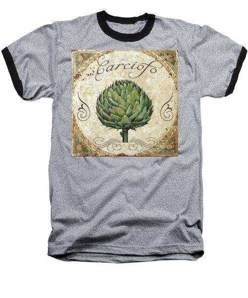 Mangia Artichoke Baseball T-Shirt by Mindy Sommers