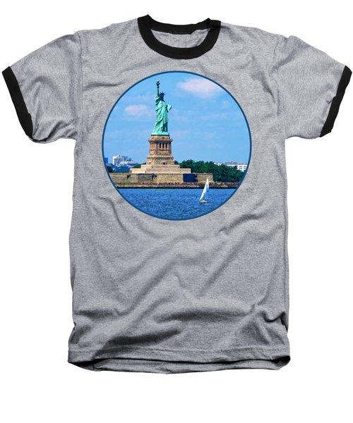 Manhattan - Sailboat By Statue Of Liberty Baseball T-Shirt by Susan Savad