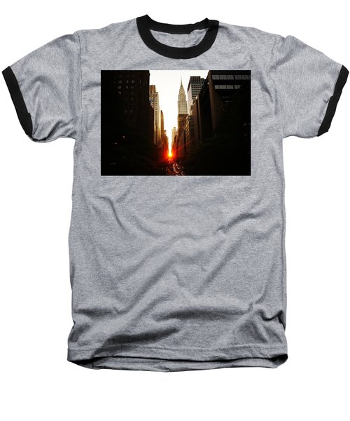 Manhattanhenge Sunset Over The Heart Of New York City Baseball T-Shirt by Vivienne Gucwa