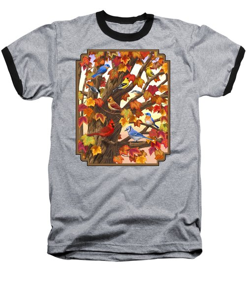 Maple Tree Marvel - Bird Painting Baseball T-Shirt by Crista Forest