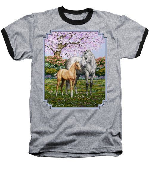 Mare And Foal Pillow Blue Baseball T-Shirt by Crista Forest