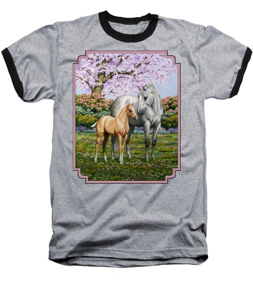 Mare And Foal Pillow Pink Baseball T-Shirt by Crista Forest