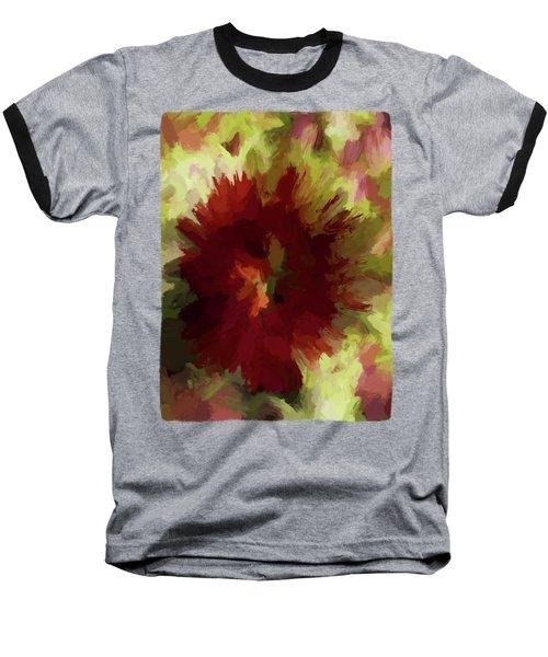 Maroon Flower 4 Baseball T-Shirt by Jackie VanO