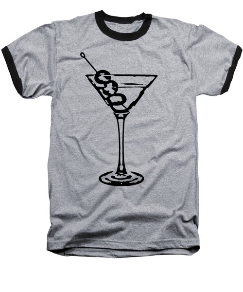 Martini Glass Tee Baseball T-Shirt by Edward Fielding